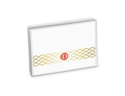 Viabella, 8 Pc, Boxed Initial Notes Lattice Initials D, Multicolor, 5.25