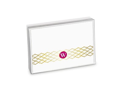 Viabella, 8 Pc, Boxed Initial Notes Lattice Initials W, Multicolor, 5.25