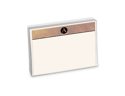 Viabella, 12 Pc, Boxed Initial Correspondence Cards Herringbone Initials A, Multicolor, 6