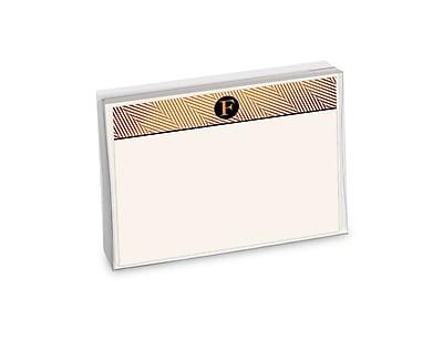 Viabella, 12 Pc, Boxed Initial Correspondence Cards Herringbone Initials F, Multicolor, 6