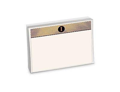 Viabella, 12 Pc, Boxed Initial Correspondence Cards Herringbone Initials I, Multicolor, 6