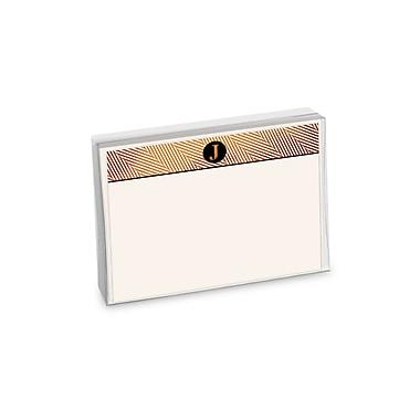 Viabella, 12 Pc, Boxed Initial Correspondence Cards Herringbone Initials J, Multicolor, 6
