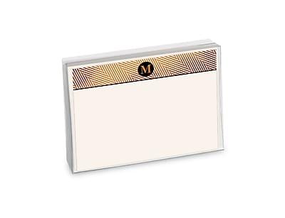 Viabella, 12 Pc, Boxed Initial Correspondence Cards Herringbone Initials M, Multicolor, 6