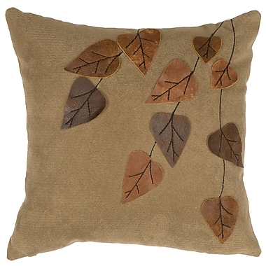 Wooded River Thistle Leaf Appliques Throw Pillow