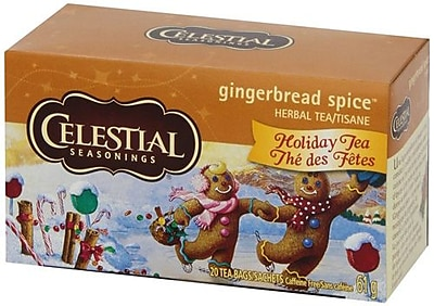 Celestial Seasonings Holiday Herbal Tea - Gingerbread Spice - Caffeine Free - Case of 6 - 20 Bags