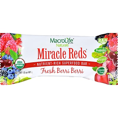 MacroLife Naturals Miracle Red Bar - Very Berry - Case of 12 - 42 Grams