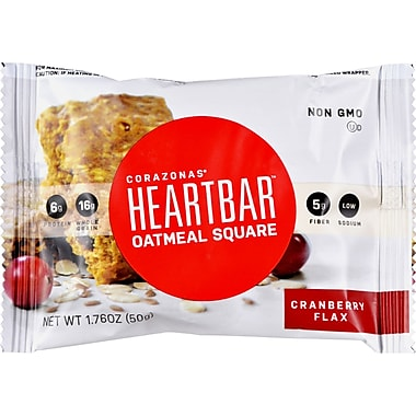 Corazonas Oatmeal Squares - Cranberry Flax - Case of 12 - 1.76 oz