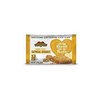 Corazonas Oatmeal Squares - Banana Walnut - Case of 12 - 1.76 oz