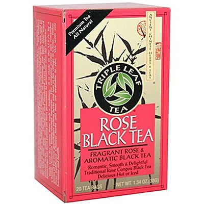 Triple Leaf Tea - Black Tea - Rose - 20 Tea Bags - Case of 6