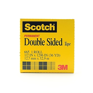 3M Permanent Double Sided Tape 1/2 In. X 36 Yd. Roll With 3 In. Core 665 [Pack Of 2] (2PK-70016013677)