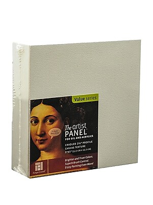Ampersand The Artist Panel Canvas Texture Cradled Profile 5 In. X 5 In. 1 1/2 In. [Pack Of 2] (2PK-APC1.5 055)