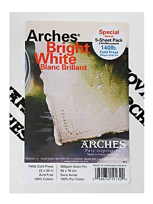 Arches Watercolor Paper 140 Lb. Cold Press Bright White 22 In. X 30 In. Pack Of 5 (100511515)