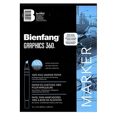 Bienfang Graphics 360 100% Rag Translucent Marker Paper 9 In. X 12 In. Pad Of 100 (316221)