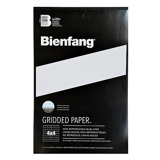 Bienfang Gridded Paper 4 X 4 11 In. X 17 In. Pad Of 50 [Pack Of 2] (2PK-910593)