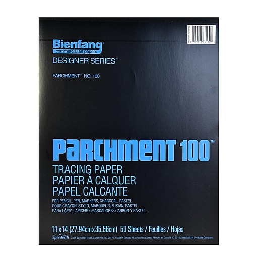 Bienfang Parchment 100 Tracing Paper 11 In. X 14 In. Pad Of 50 Sheets (240130)