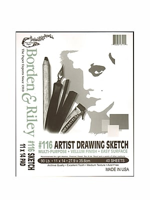 Borden And Riley #116 Artist Drawing/Sketch Vellum Pads 11 In. X 14 In. 40 Sheets Cloth Bound (116P111440)