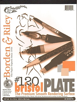 Borden And Riley #120 Bristol Pad 9 In. X 12 In. Plate Finish (12PP091220)