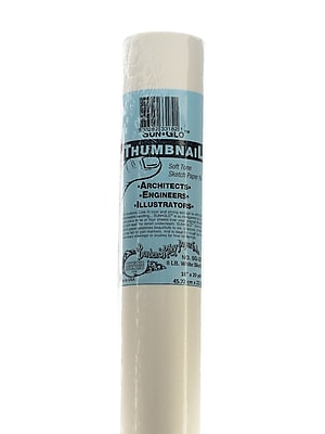 Borden And Riley Sun-Glo Thumbnail Sketch Paper Rolls White 8 Lb. 18 In. X 20 Yd. Roll (35WR182000)