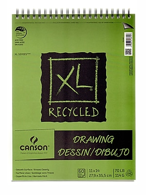 Canson XL Recycled Drawing Pads, 11 In. x 14 In., Pad Of 60 Sheets, WireBound Top (100510916)