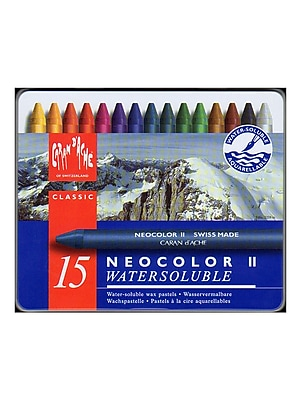 Caran D'Ache Neocolor Ii Aquarelle Water Soluble Wax Pastel Sets Set Of 15 (7500-315)