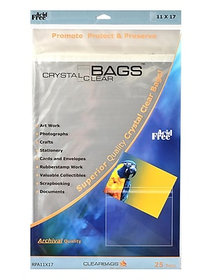 Clearbags Crystal Clear Photography And Art Bags 11 In. X 17 In. Pack Of 25 (RPA11x17)