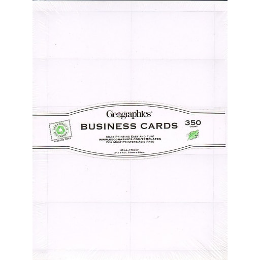Geographics Geopaper Business Cards Plain White Pack Of 350 [Pack Of 2] (2PK-39051)