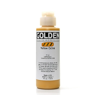 Golden Fluid Acrylics Yellow Ochre 4 Oz. [Pack Of 2] (2PK-2407-4)
