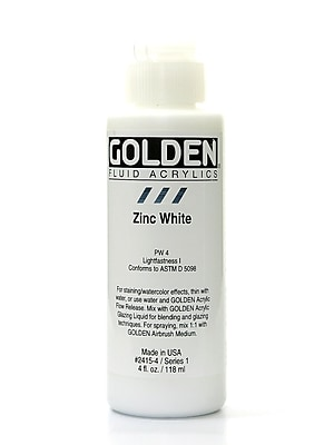 Golden Fluid Acrylics Zinc White 4 Oz. [Pack Of 2] (2PK-2415-4)