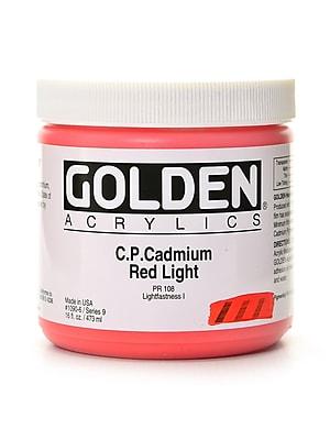 Golden Heavy Body Acrylics Cadmium Red Light (Cp) 16 Oz. (1090-6)