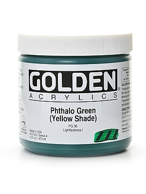 Golden Heavy Body Acrylics Phthalo Green/Yellow Shade 16 Oz. (1275-6)