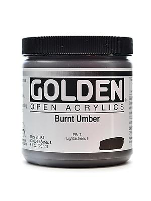 Golden Open Acrylic Colors Burnt Umber 8 Oz. Jar (7030-5)