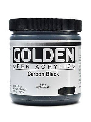 Golden Open Acrylic Colors Carbon Black 8 Oz. Jar (7040-5) 2168727