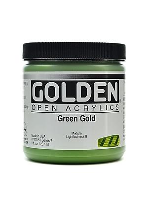 Golden Open Acrylic Colors Green Gold 8 Oz. Jar (7170-5)