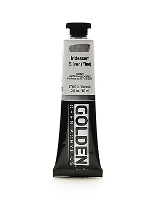 Golden Open Acrylic Colors Iridescent Silver (Fine) 2 Oz. Tube [Pack Of 2] (2PK-7487-2)