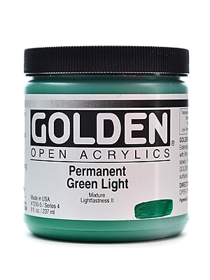 Golden Open Acrylic Colors Permanent Green Light 8 Oz. Jar (7250-5)