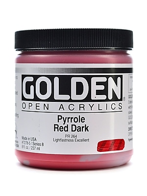Golden Open Acrylic Colors Pyrrole Red Dark 8 Oz. Jar (7278-5)