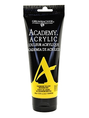 Grumbacher Academy Acrylic Colors Cadmium Yellow Medium Hue 6.8 Oz. (200 Ml) [Pack Of 2] (2PK-C034P200)