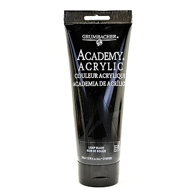 Grumbacher Academy Acrylic Colors Lamp Black 6.8 Oz. (200 Ml) [Pack Of 2] (2PK-C116P200)