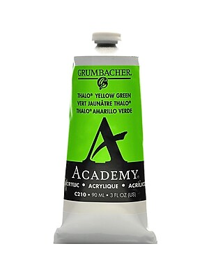 Grumbacher Academy Acrylic Colors Thalo Yellow Green 3 Oz. (90 Ml) [Pack Of 3] (3PK-C210)