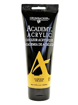 Grumbacher Academy Acrylic Colors Yellow Ochre Light 6.8 Oz. (200 Ml) [Pack Of 2] (2PK-C244P200)