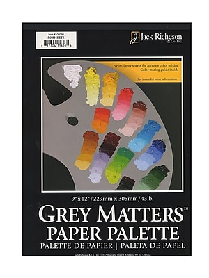 Jack Richeson Grey Matters Paper Palettes 9 In. X 12 In. [Pack Of 2] (2PK-100280)