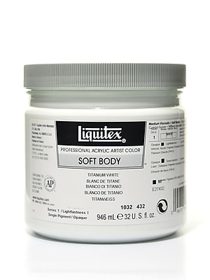 Liquitex Soft Body Professional Artist Acrylic Colors Titanium White 32 Oz. (1032432)