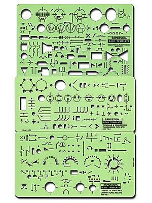 Rapidesign Electrical Drafting And Design Templates Electrical/Electronic Set Of 3 (R300)