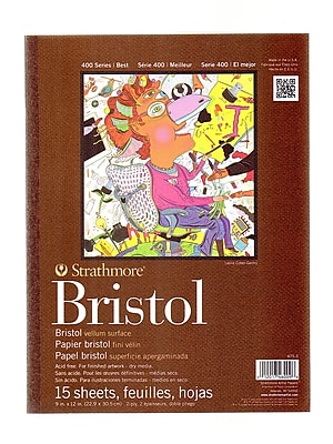 Strathmore 400 Series Bristol Pads 9 In. X 12 In. Vellum 15 Sheets (475-3-1)