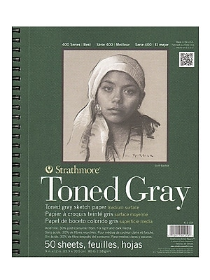 Strathmore 400 Series Toned Sketch Paper Pads (Wirebound) Gray 9 In. X 12 In. 50 Sheets (412-109)