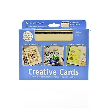 Strathmore Blank Greeting Cards With Envelopes Bright White With Black Deckle Pack Of 20 (105-17-1)