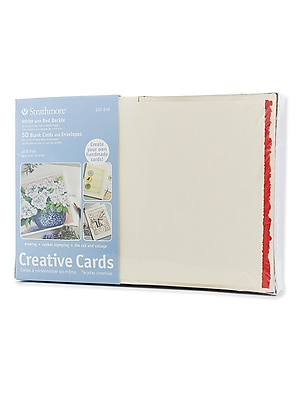 Strathmore Blank Greeting Cards With Envelopes White With Red Deckle Pack Of 50 (105-240-1)
