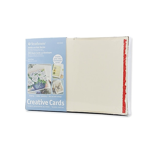 Strathmore blank greeting cards with envelopes white with red deckle httpsstaples 3ps7is images for strathmore blank greeting cards m4hsunfo