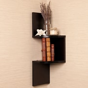 FamisCorp Zig Zag Corner Wallmount Hanging Shelf Decor; Brown