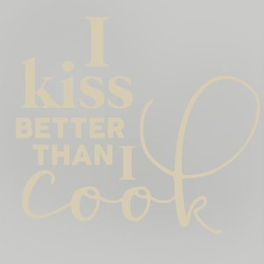 SweetumsWallDecals I Kiss Better than I Cook Wall Decal; Beige